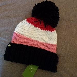 NWT Kate Spade hand knit colorblock hat